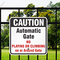 Caution Automatic Gate Signs