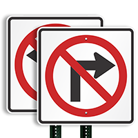 No Right Turn Directional Road Signs