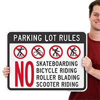 Parking Lot Rules No Skateboarding Bicycle Riding Signs
