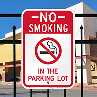 No Smoking In Parking Lot Signs