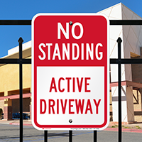 No Standing, Active Driveway Parking Restriction Signs