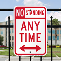 No Standing Any Time Signs, Bidirectional Arrow