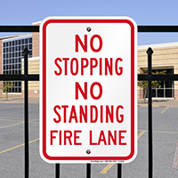 No Stopping No Standing Fire Lane Signs