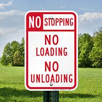 No Stopping No Loading No Unloading Signs