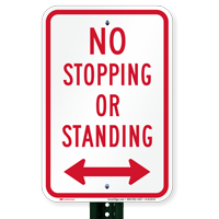 No Stopping or Standing Signs, Bidirectional Arrow