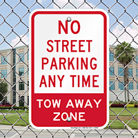 No Street Parking Any Time Signs