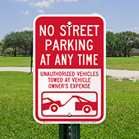 No Street Parking At Any Time Signs