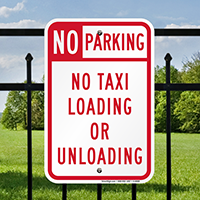 No Parking No Taxi Loading Or Unloading Signs