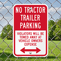 No Tractor Trailer Parking, Bidirectional Signs