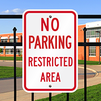 No Parking Restricted Area Signs
