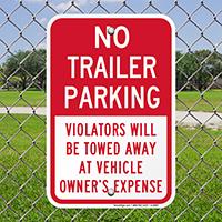 No Trailer Parking, Violators Towed Away Signs