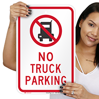 No Truck Parking Signs with Quaint Symbol