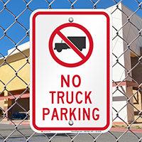 No Truck Parking Signs with Symbol