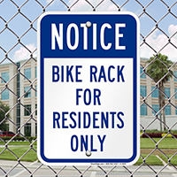 Notice - Bike Rack For Residents Only Signs