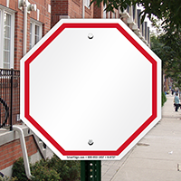 Blank Signs, Octagon Shape, Red Printed Border