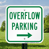 Overflow Parking with Right Arrow Signs