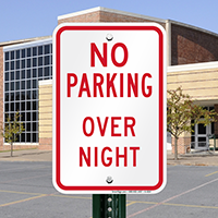No Parking Overnight Parking Sign