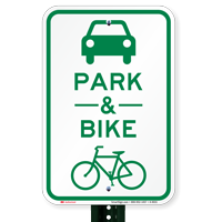 Park & Ride with Bicycle Graphic Signs