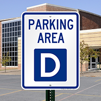 PARKING AREA D Signs