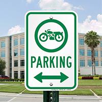 Bike Parking Signs with Bidirectional Arrow