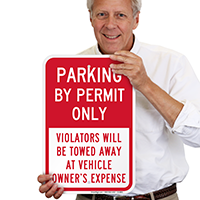Parking By Permit Only, Violators Towed Away Signs