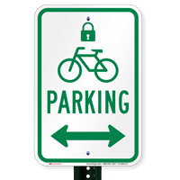Parking Bidirectional Signs with Lock & Bicycle Symbols