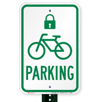 Bicycle Parking Signs with Lock Symbol