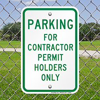 Parking For Contractor Permit Holders Only Signs