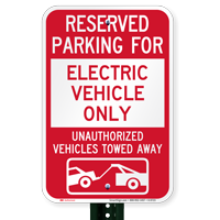 Reserved Parking For Electric Vehicle Only Signs