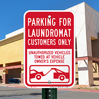 Parking For Laundromat Customers Only Signs