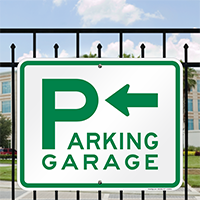 Parking Garage with Left Arrow Signs