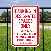 Parking In Designated Spaces Only Signs