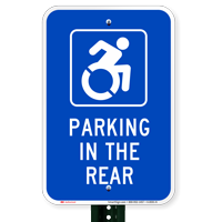 Parking In The Rear with Access Symbol Signs