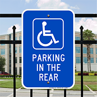 Parking In The Rear with Handicap Symbol Signs
