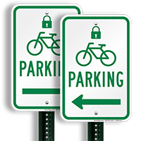 Parking Left Signs with Lock & Bicycle Symbols