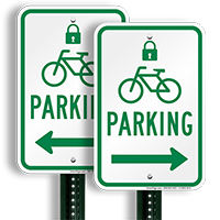 Bicycle Parking Right Signs with Lock Symbol
