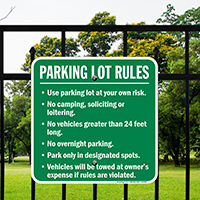 Parking Lot Rules Use At Own Risk Signs
