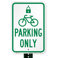 Parking Bike Bicycle Only Sign with Cycle and Lock Symbol