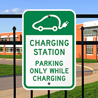 Charging Station, Electric Car Parking While Charging Signs