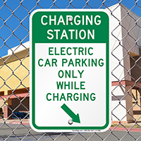 Electric Car Parking Only Signs (With Right Arrow)