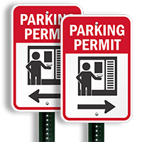 Parking Permit Right Direction Arrow Signs