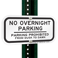 Parking Prohibited Dusk to Dawn Signs