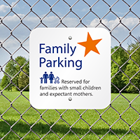 Parking Reserved For Families With Small Children Signs
