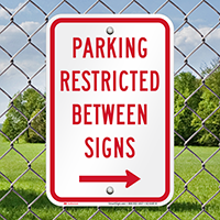 Parking Restricted Between Sign With Right Arrow Symbol
