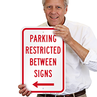 Parking Restricted Between Sign With Left Arrow Symbol