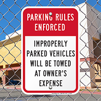 Parking Rules Enforced Signs