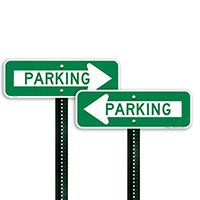 Directional Parking Signs with Left Arrow