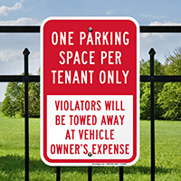 One Parking Space Per Tenant Only Signs