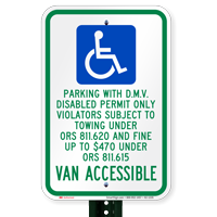 Oregon Parking With D.M.V. Disabled Permit Only Signs