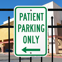 Patient Parking Only with Left Arrow Signs